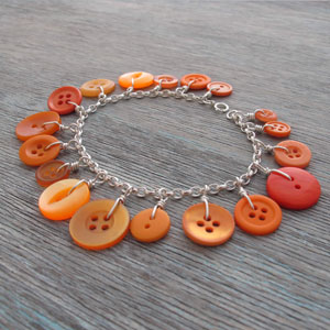 Orange button bracelet by Milomade
