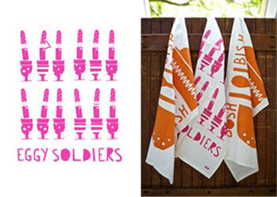 YOKE's Eggy Soldiers tea towel - available from FCA&C's online shop @ £10